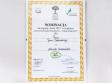 Dyplom z informacją o nominacji do nagrody